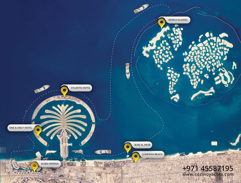 Yacht Rental Map - Shows the locations your yacht will cruise through