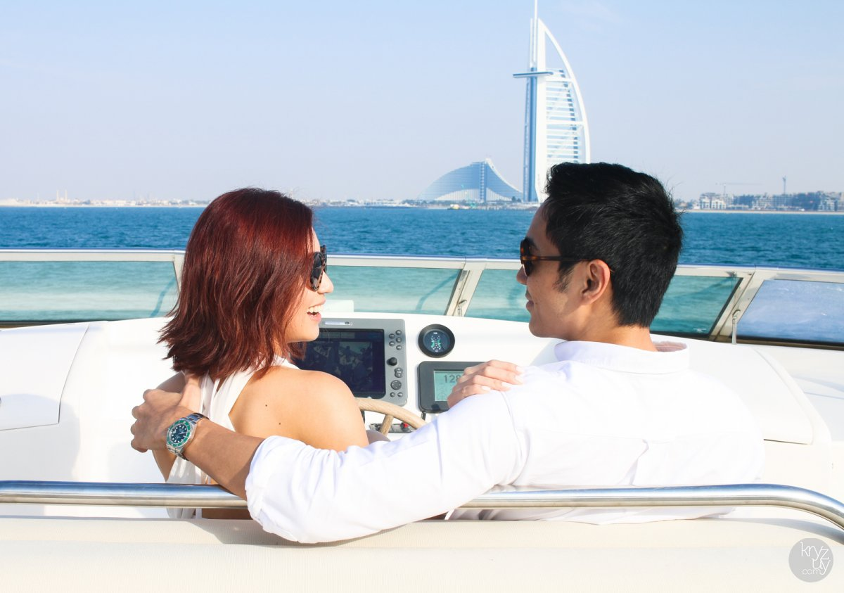 couple on a chartered yacht