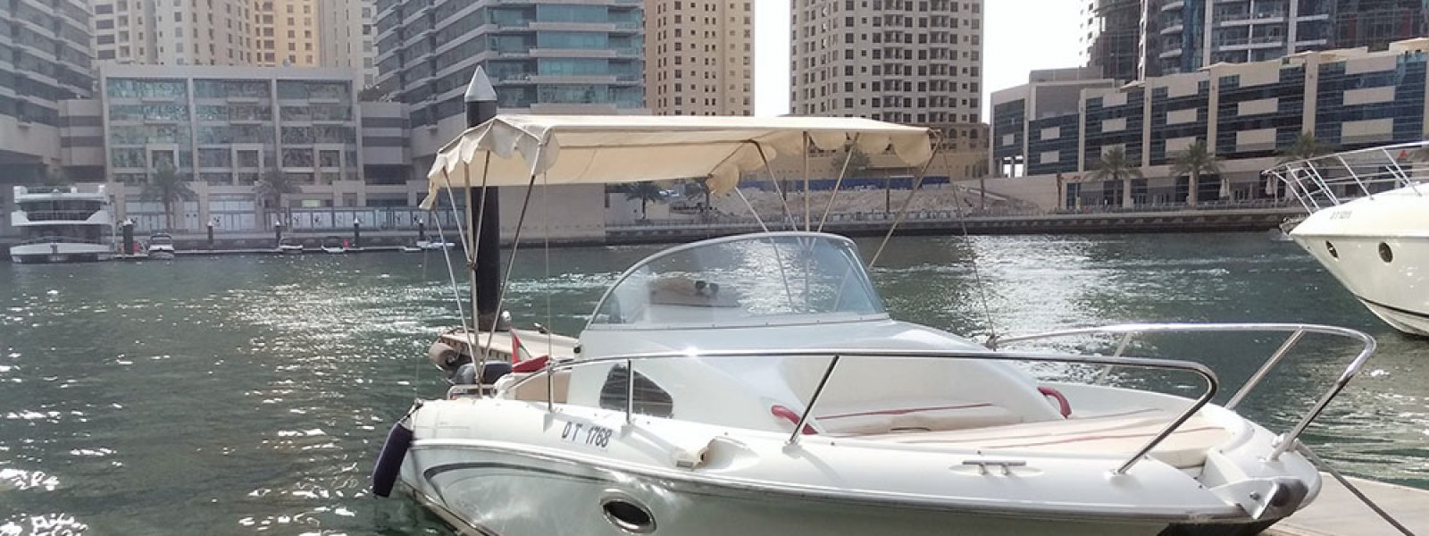 Cozmo 30 Speed Boat Dubai berthed at Dubai Marina