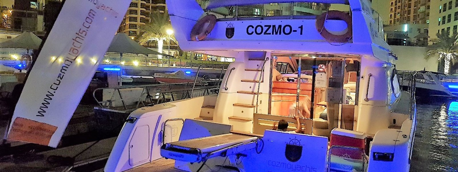 Cozmo 55 yacht berthed at dubai marina