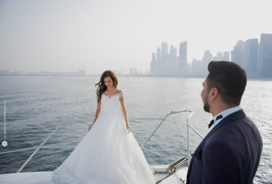 romantic couple getting engaged on luxury yacht