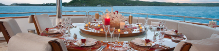 Enjoy delicious food during your yacht cruise